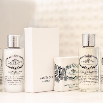 Shampoo, conditioner, body gel, body lotion and vanity set from the Portuguese brand Castelbel.